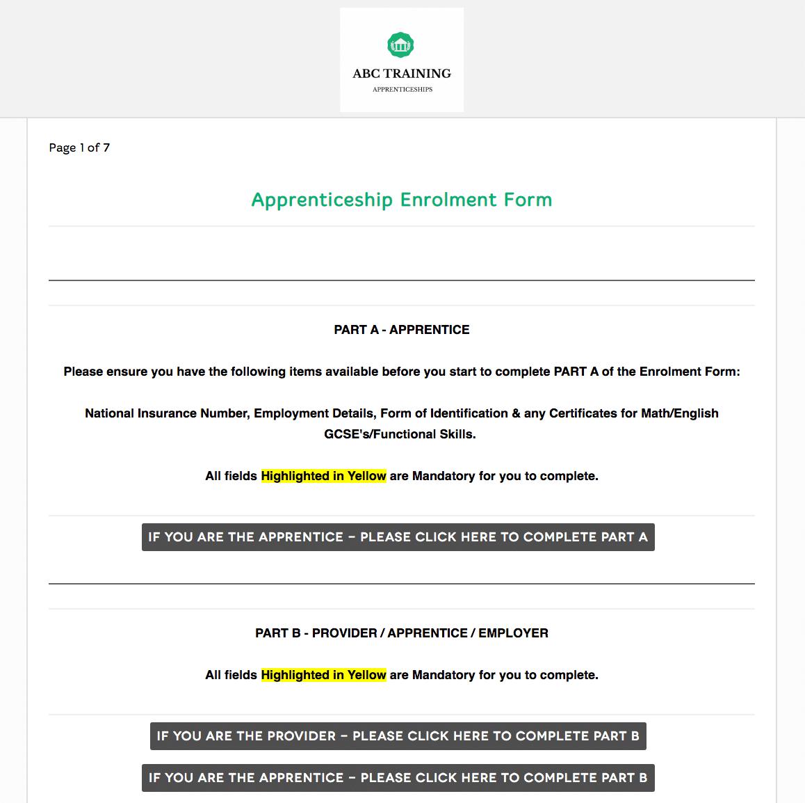 Apprenticeship enrolment form
